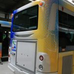 Face arrière bus, pare-chocs, clignotants supérieurs
